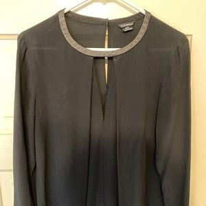 Club Monaco silk blouse with leather accents